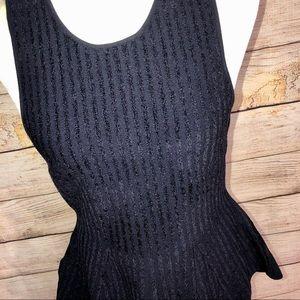 Ann Taylor Navy Striped Peplum Skirt Set